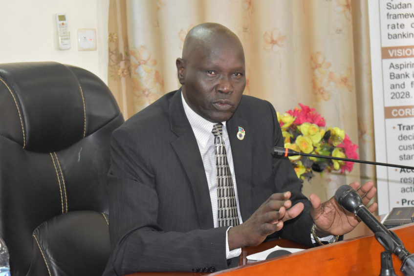 South Sudan Central Bank Governor Dier Tong Ngor [Photo by Emmanuel Akile/Eye Radio]
