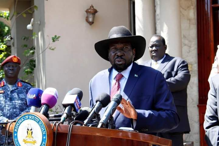 South Sudan President Salva Kiir speaking to reporters at the state-house J1 in January this year [Photo credit: Reuters]