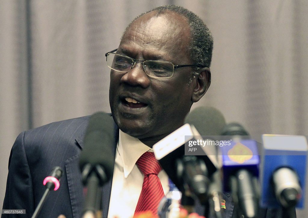 South Sudan Information Minister Michael Makuei gives a press conference on January 5, 2014 in the Ethiopian capital Addis Ababa after arriving from Juba [Photo via Getty Images]