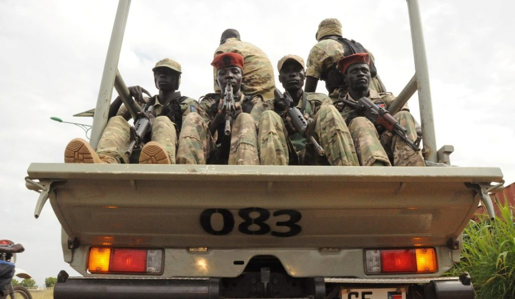 Members of South Sudan's National Security Service in a pickup vehicle - NSS [Photo by unknown]