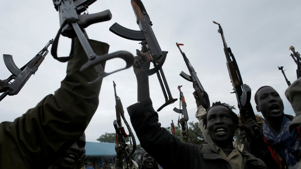 South Sudan army soldiers in unidentified area in Central Equatoria state (Photo by REUTERS)