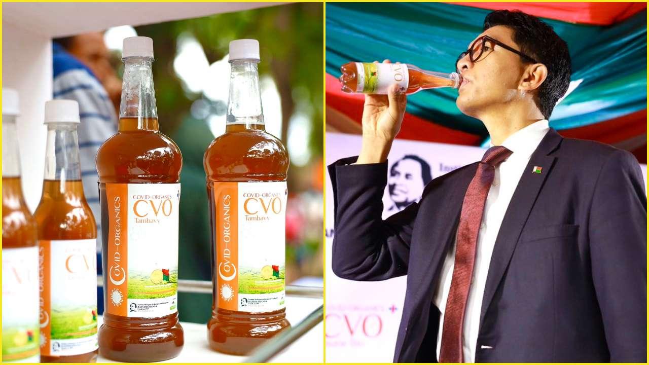 Photo: Madagascar president seen taking does of Madagascar COVID-19 cure (Credit: Malagasy media)
