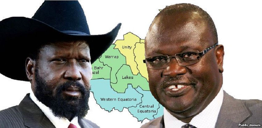 South Sudan President Salva Kiir Mayardit (left) and Dr. Riek Machar Teny (right) appears in a photo (Photo via Facebook)