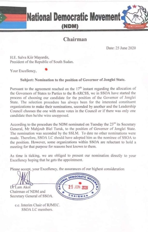 Letter from Dr. Lam Akol Ajawin to President Salva Kiir asking him to support his nominee for Jonglei state (File credit: NDM)
