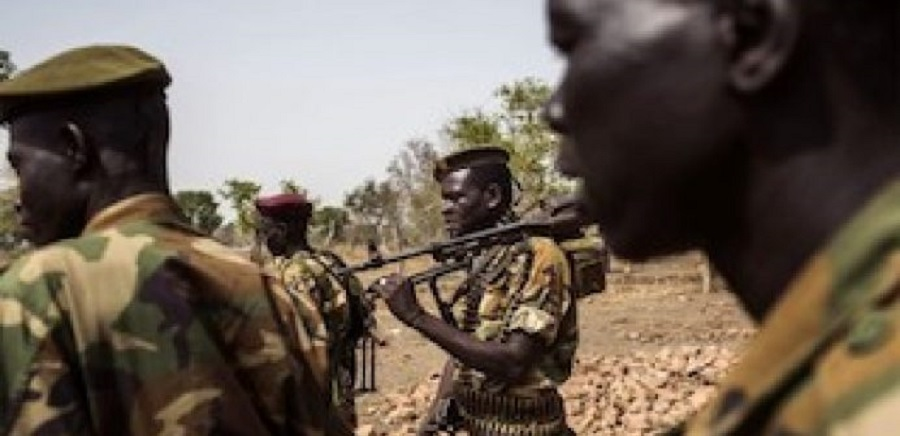 Members of South Sudan's army who fought the Gelweng militia group today in Lakes (Photo via Getty images)