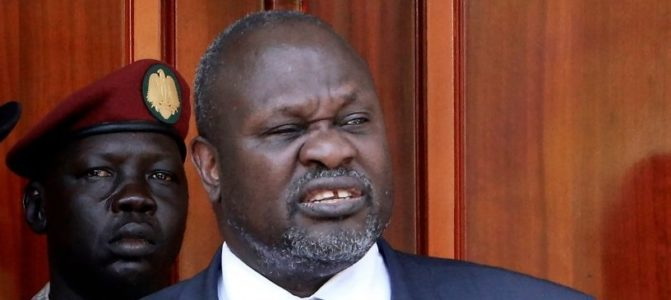 First Vice President and SPLM-IO leader Dr. Riek Machar addresses a press conference jointly with President Salva Kiir (not seen) at the State House in Juba, on February 20, 2020 (Photo: via Getty Images)