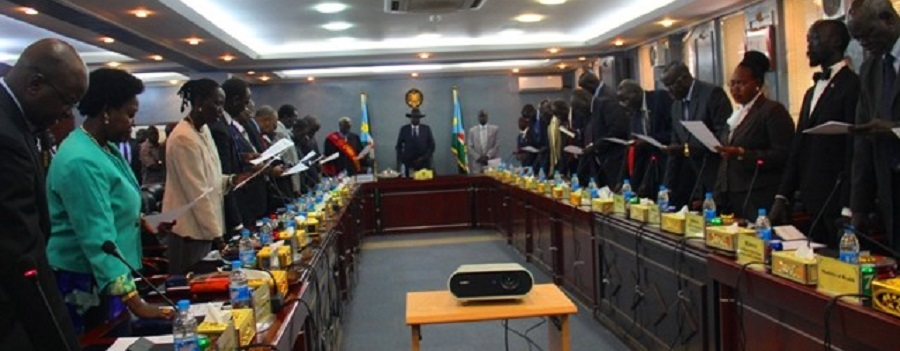South Sudan president Salva Kiir swearing in state governors today at state house J1 (Photo via presidency)