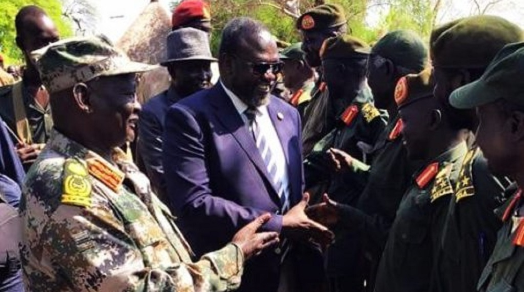 South Sudan First Vice President, Chairman and Commander in Chief of SPLM, SPLA-IO, Dr. Riek Machar Teny greeting his generals in Pagak in 2015 [Photo via Facebook]