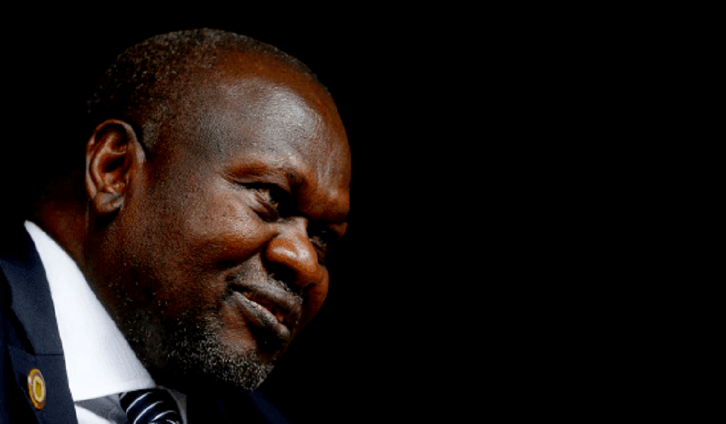 South Sudan First Vice President and SPLM-IO leader Dr. Riek Machar Teny speaking to Reuters in Rome, Italy in April 20129 [Photo by Reuters]