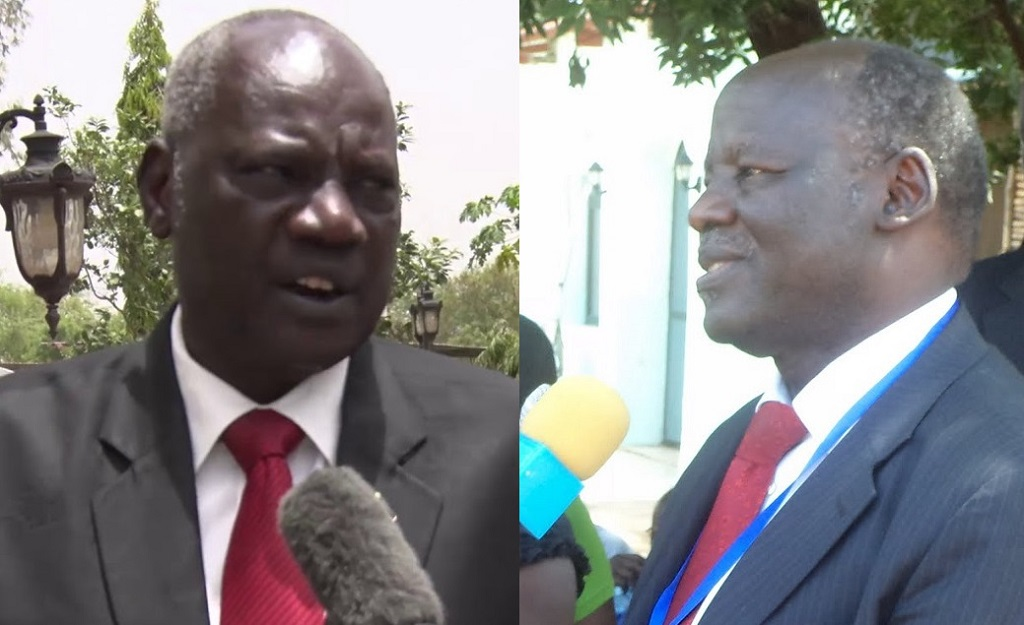 South Sudan government spokesman Michael Makuei Lueth (left) and Chairman of National Democratic Movement (NDM) (right) Dr. Lam Akol Ajawin [Photo by Sudans Post]