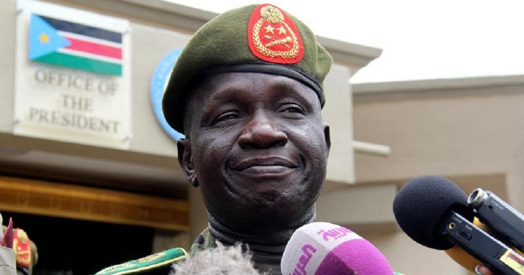 South Sudan former Chief of Defense Force (CDF) General James Ajongo Mawut who died in Egypt in April 2018, speaking to journalists at Bilpam before his demise [Photo via Getty Imaes]
