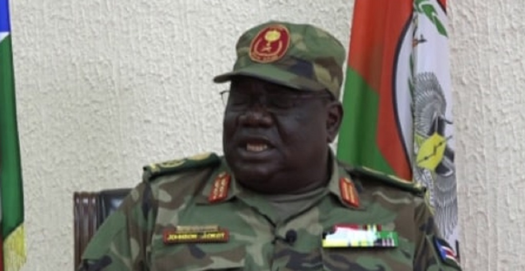 South Sudan army chief General Johnson Juma Akot in an interview with Mading Ngor, not seen, in Juba following his appointment in May. [Photo by Dolku media]