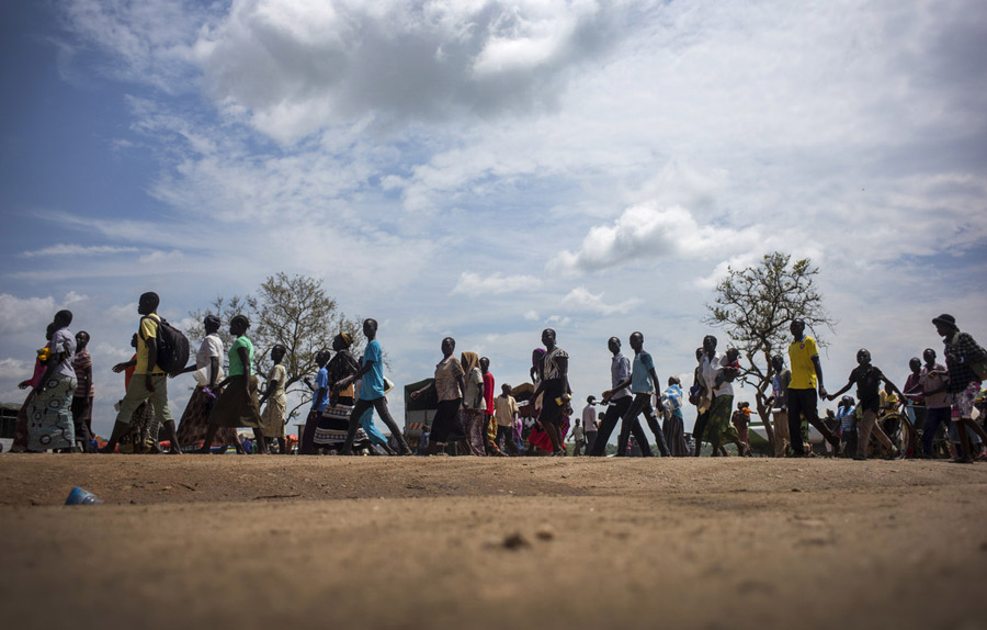 South Sudanese refugees arriving at Imvepi Refugee Settlement. Photo: Kieran Doherty/Oxfam