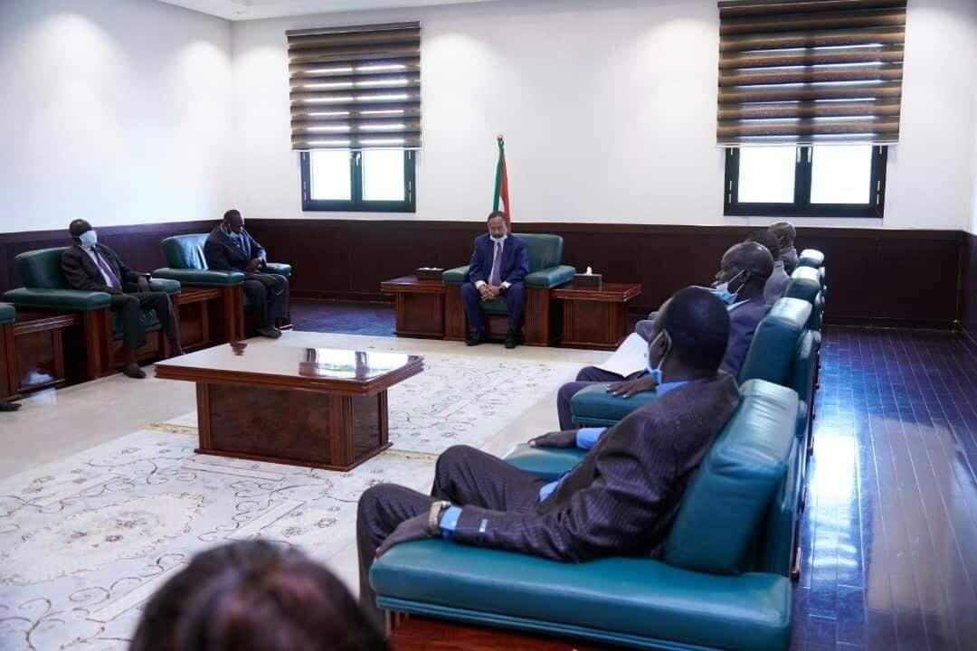 SPLM-IO delegation meeting Sudanese Prime Minister Abdallah Hamdok in Khartoum [Photo by PM minister's office]