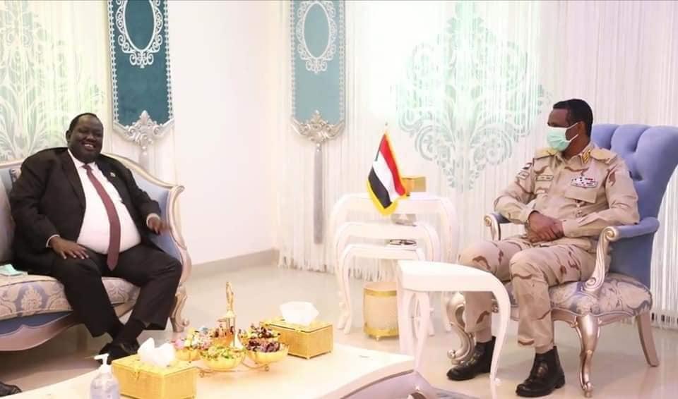 South Sudan presidential advisor on security Tut Gatluak Manimeh meeting General Mohamed Hamdan Daglo in Khartoum [Photo by Sudans Post]