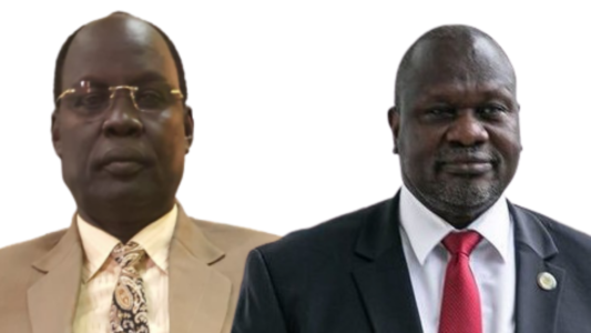 Former SPLM-IO governor of Sobat state Duer Tut Duer and SPLM-IO leader and South Sudan First Vice President Dr. Riek Machar Teny [Photo moderated by Sudans Post]