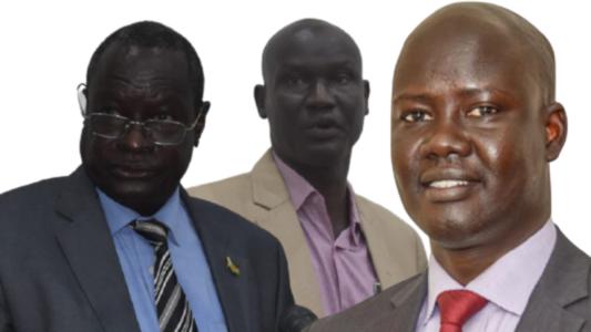 Finance minister, Salvatore Garang Mabiordit, acting NRA Commissioner-General Erjok Bullen Geu, and Nilepet director Dr Chol Deng [Photo designed by Sudans Post]