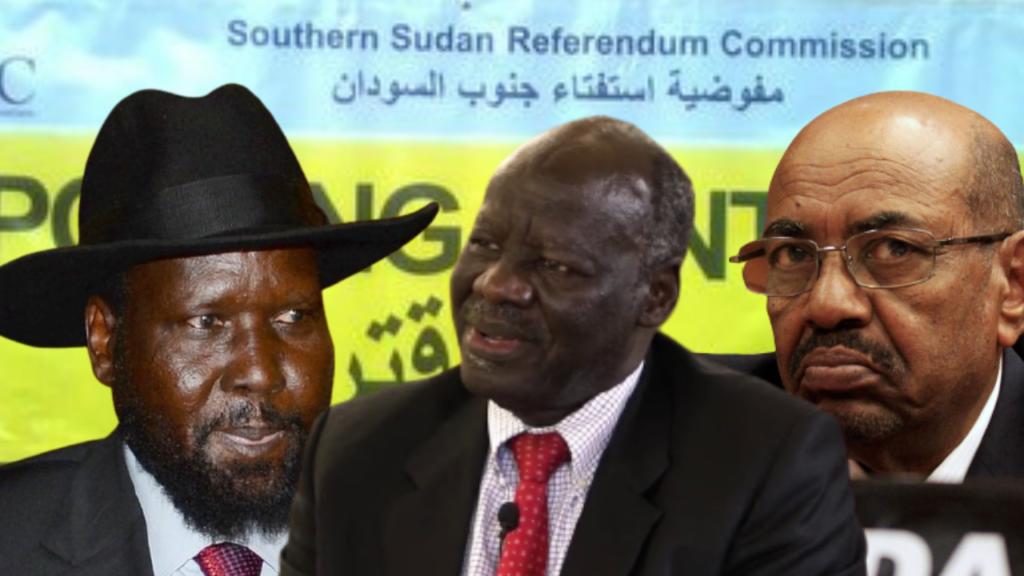 South Sudan President Salva Kiir, left, opposition leader Dr. Lam Akol, center, and former Sudanese President Omar al-Bashir, right [Photos via Getty Images]