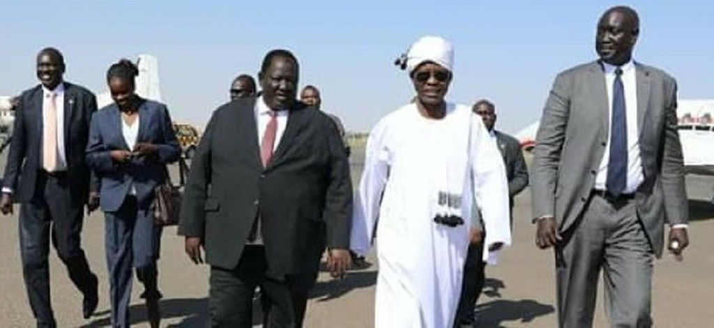 South Sudan delegation arriving at Khartoum airport [Photo via Facebook]