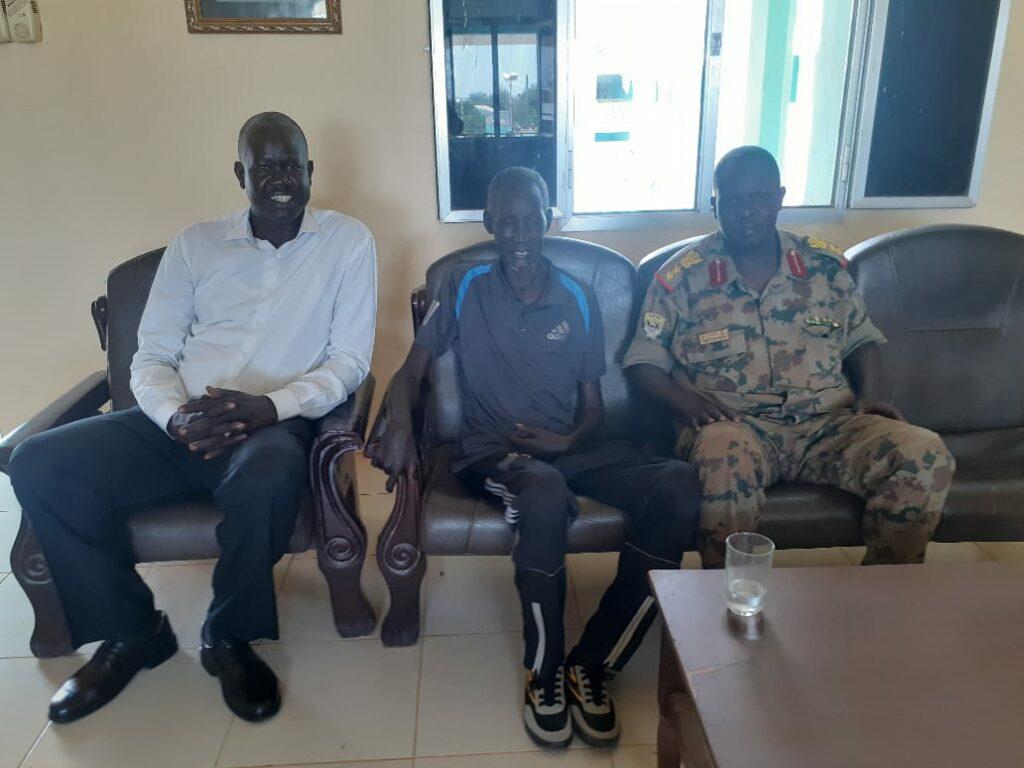 Former Sudanese army sergeant James Dingnyang Hoth, center, SPLM-IO ambassador to Egypt Gatkuoth Biel Nyang, left, and Sudanese army Brigadier in Khartoum [Photo courtesy]