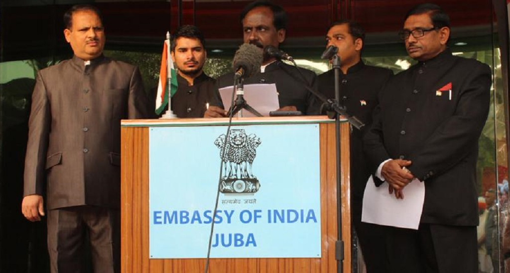 Indian ambassador to South Sudan Shri S.D. Moorthy addressing a function in Juba [Photo by Indian embassy website]