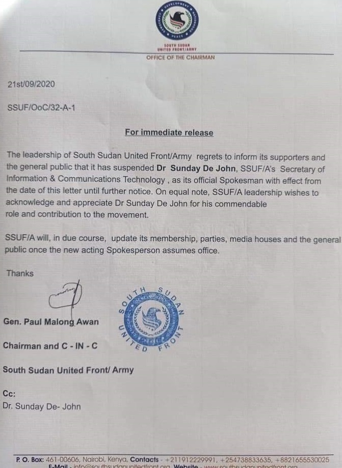 Statement by General Malong announcing the dismissal of his media official Sunday De John [File obtained by Sudans Post]