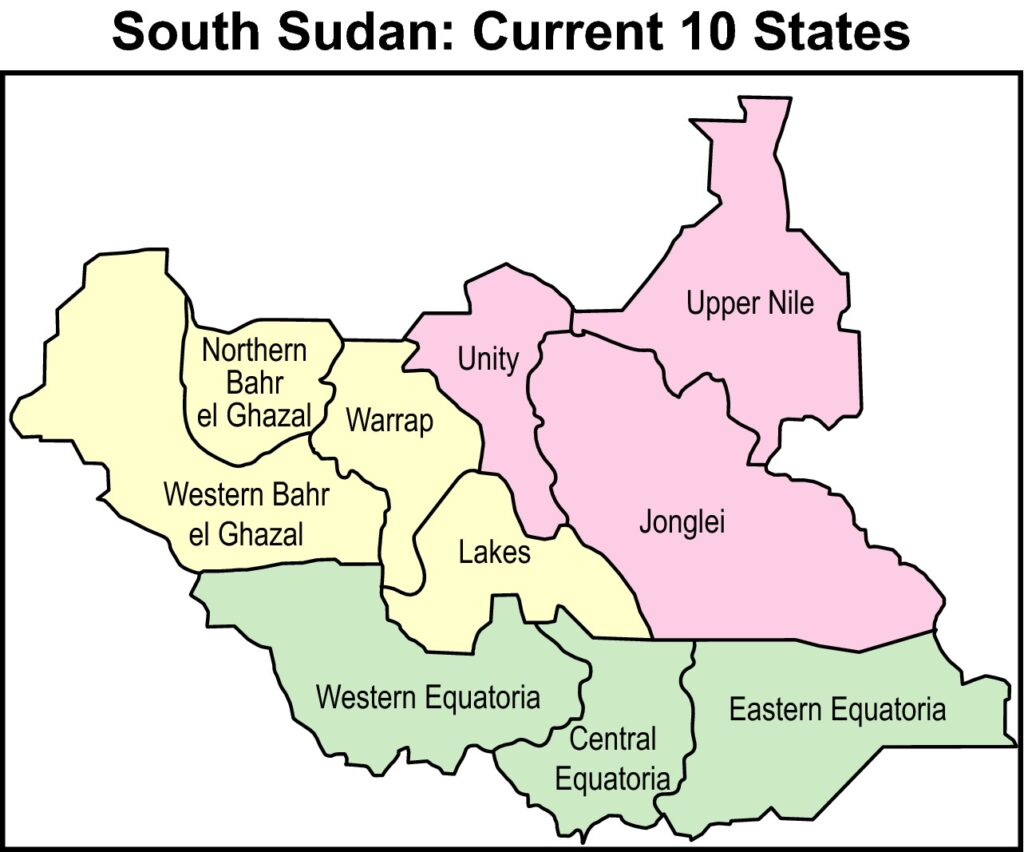 South Sudan map featuring current 10 states [Photo via  Wiley Online Library]