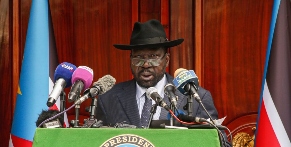 South Sudan President Salva Kiir speaks to the press at the State House in Juba, during South Sudan's independence anniversary, on July 9,2019. [Photo via Getty Images]