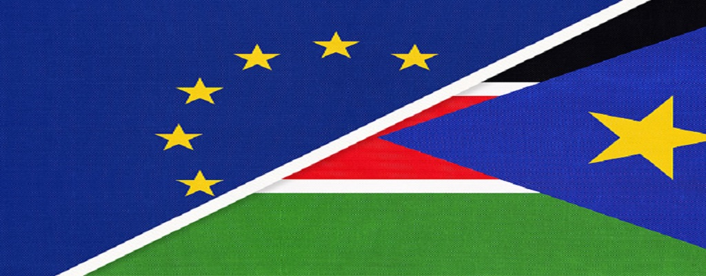 European Union (EU) and South Sudan national flag from textile. [Photo by iStock]
