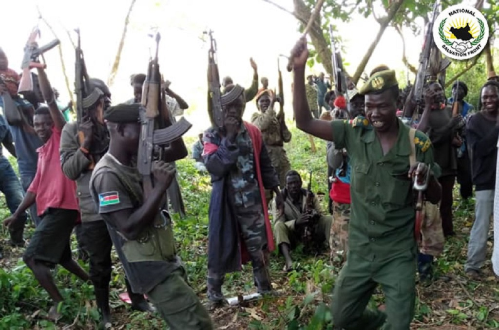 South Sudan rebel soldiers in an undisclosed area in Central Equatoria state [Photo by unknown]
