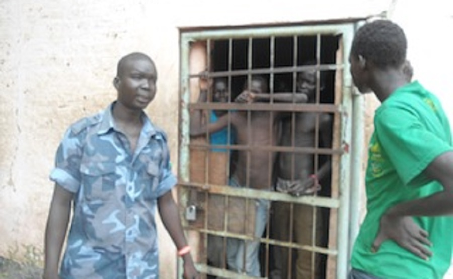 Police man guards jail in Bor town [Photo by unknown]