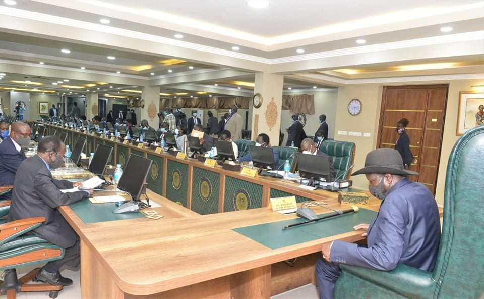 South Sudan cabinet meeting in Juba chaired by President Salva Kiir today [Photo by PPU]