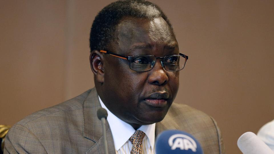 South Sudan's cabinet affairs minister Martin Elia Lomoro addresses a news conference on the South Sudan negotiations in Addis Ababa, Ethiopia June 22, 2018. [Photo by Reuters].