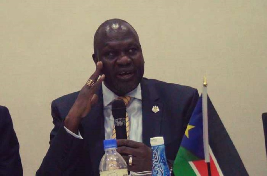 South Sudan's First Vice President Dr. Riek Machar Teny addressing a meeting of the SPLM-IO National Liberation Council in Juba in late 2019 [Photo via Facebook]