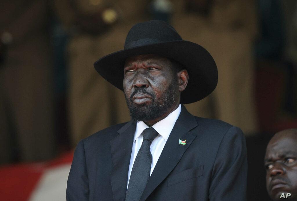 South Sudan's President Salva Kiir attends the state funeral of Kenya's former president Daniel arap Moi, at Nyayo Stadium in the capital Nairobi, Kenya, Feb. 11, 2020. [Photo by John Muchucha/AP]