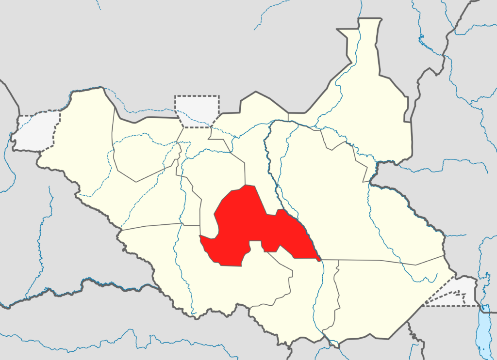 South Sudan map featuring Lakes state in red [Photo via Wikipedia]