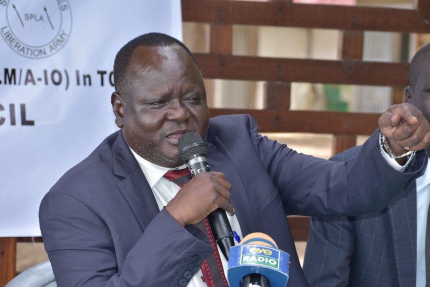 Gathoth Gatkuoth, speaks at press conference in Juba, Monday, Feb 25, 2019 [Photo by Eye Radio]