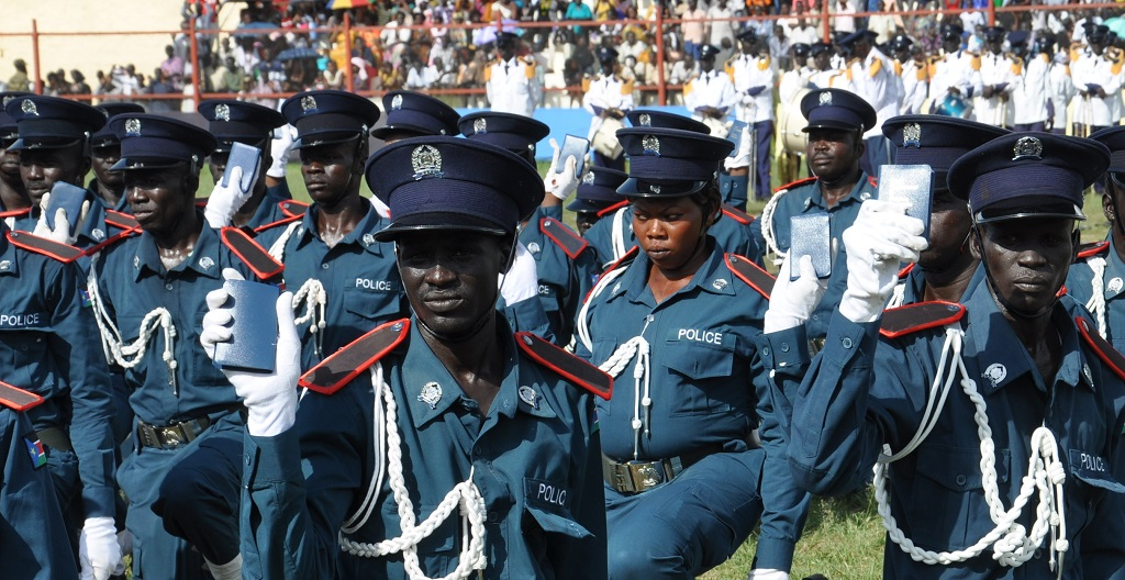 South Sudan Police graduates taking oath at Juba National Stadium in 2018 [Photo via Eye Radio]