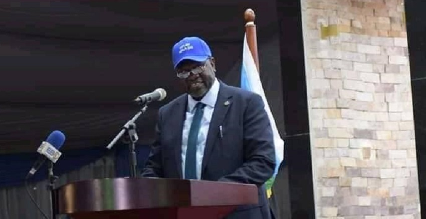 South Sudan First Vice President and SPLM-IO chairman Dr. Riek Machar Teny speaking during the 6th SPLM/SPLA (IO) National Conference in Juba last week [Photo by Sudans Post]