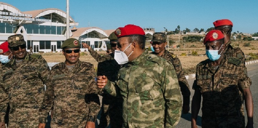 Ethiopian Prime Minister Abiy Ahmed appears in his first visit to Mekelle, the capital of Tigray regional state, since last month's federal gov't offensive [Photo via Facebook]