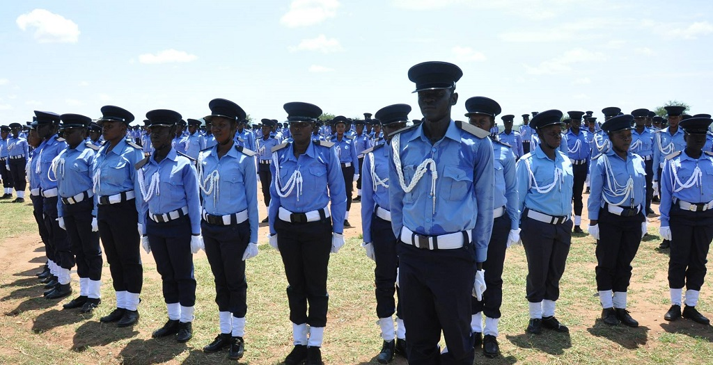 Members of South Sudan police service at a parade in Rajaf [Photo by the ministry of interior]