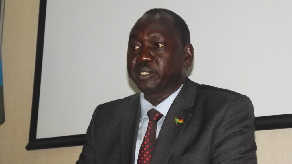 South Sudan's minister of investment, Dhieu Mathok, speaking at a press conference in Juba on Monday, December 14, 2020 in Juba [Photo by Sudans Post]