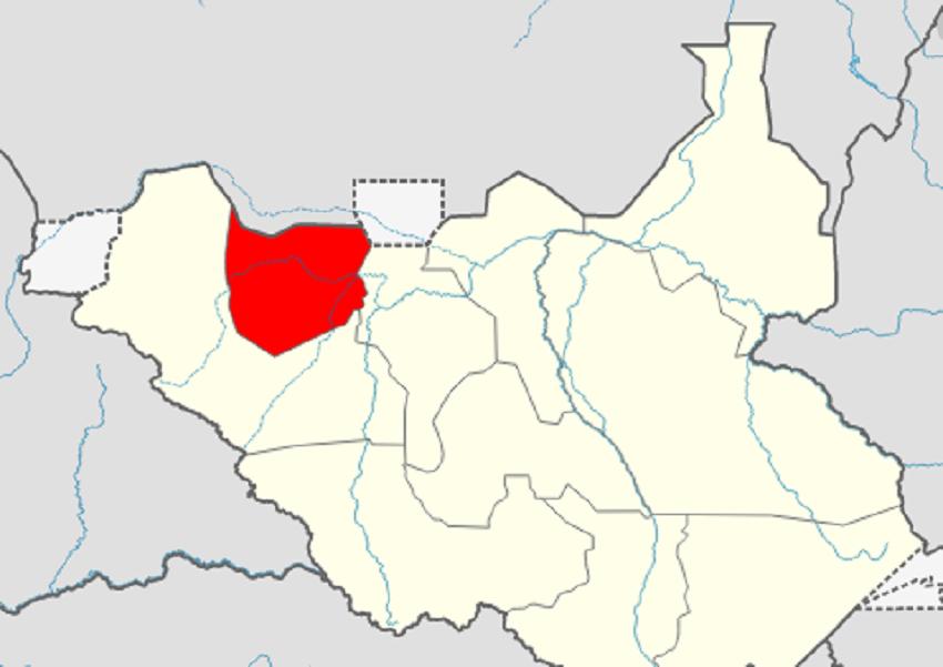 Map of Northern Bahr el Ghazal in red [Photo via Wikipedia]