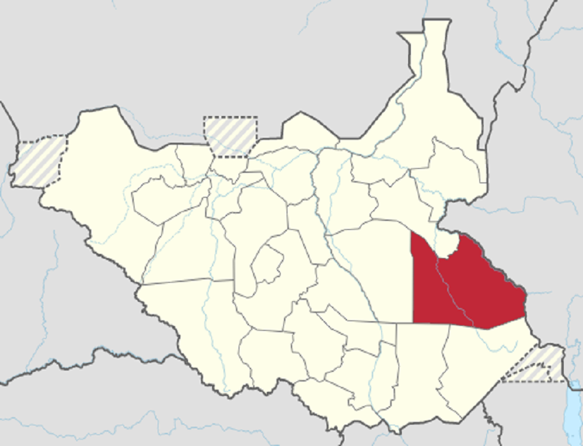 South Sudan's map featuring Greater Pibor Administrative Area (in red) [Photo via Wikipedia]