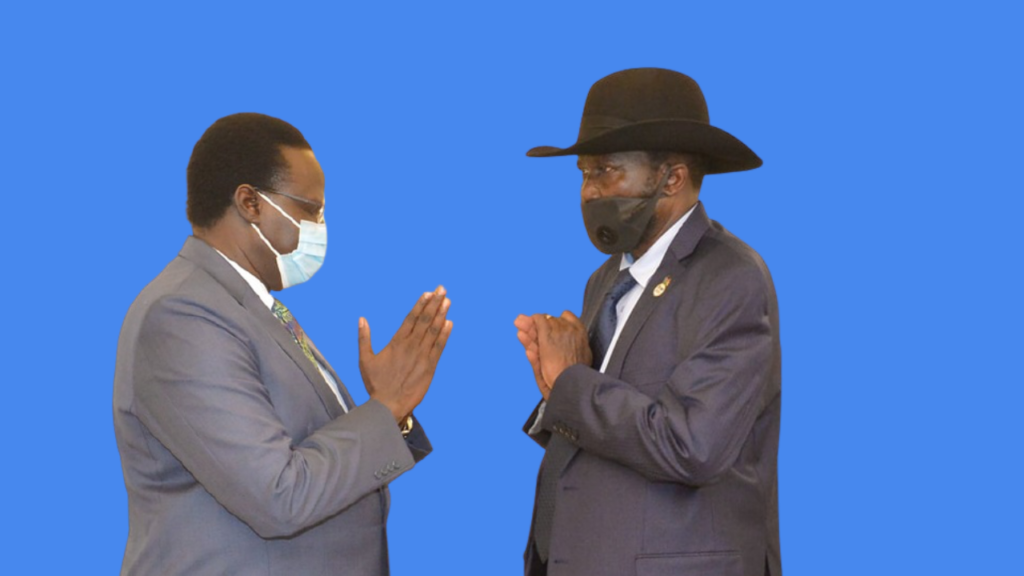 South Sudan President, Salva Kiir Mayardit (right) and Unity state governor, Nguen Manytuil, meeting at state house J1 [Photo by the presidency/moderated by Sudans Post]