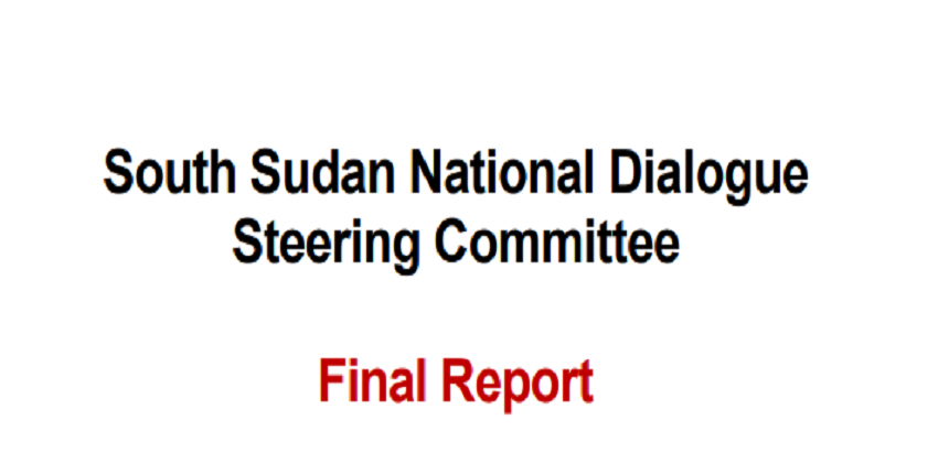 Front page of South Sudan's National Dialogue report [Photo by NDSC]
