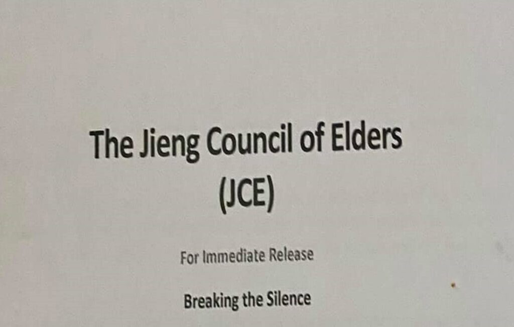 Statement by the Jieng Council of Elders obtained by Sudans Post [Screenshot by Sudans Post]