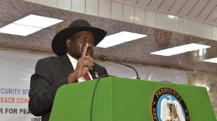 President Salva Kiir Mayardit speaking during the closing session of Jonglei state-Pibor Administrative Area peace conference at Freedom Hall in Juba on Wednesday, January 27, 2021 [Photo by Sudans Post]