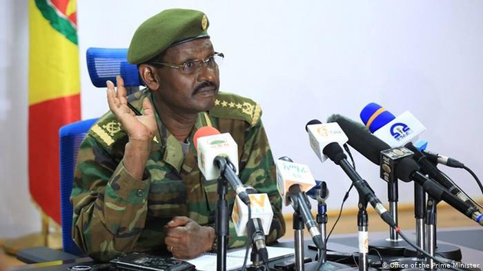Ethiopian army chief General Birhanu Jula Gelalcha speaking to the media last year [Photo by Prime Minister's Office]