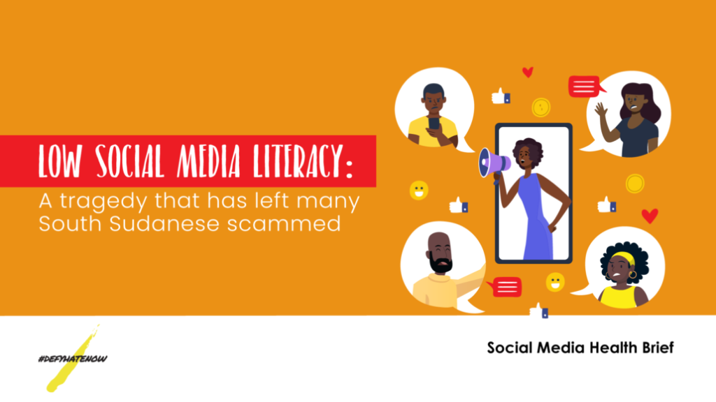Low social media literacy: a tragedy that has left many S. Sudanese scammed [Illustration by DefyHateNow]